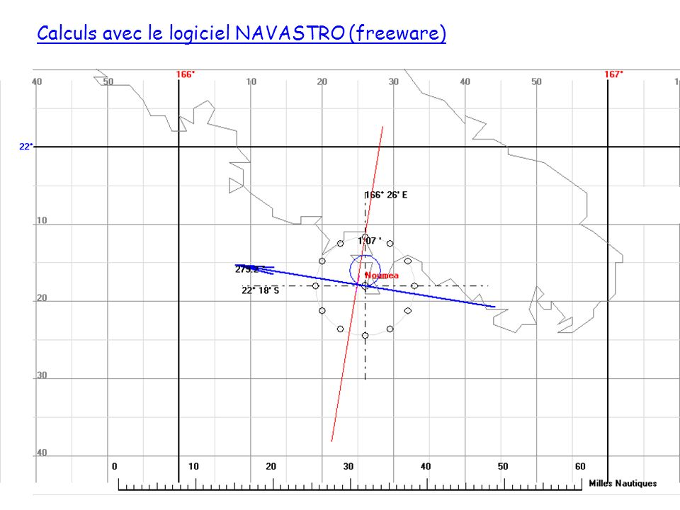 Calculs avec le logiciel NAVASTRO (freeware)