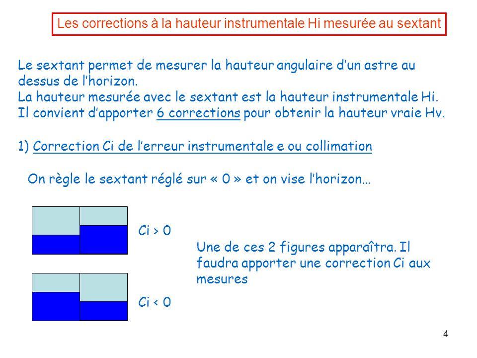 Les corrections à la hauteur instrumentale Hi mesurée au sextant