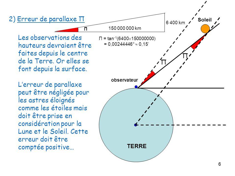 2) Erreur de parallaxe Π150 000 000 km. 6 400 km. Π. Soleil.