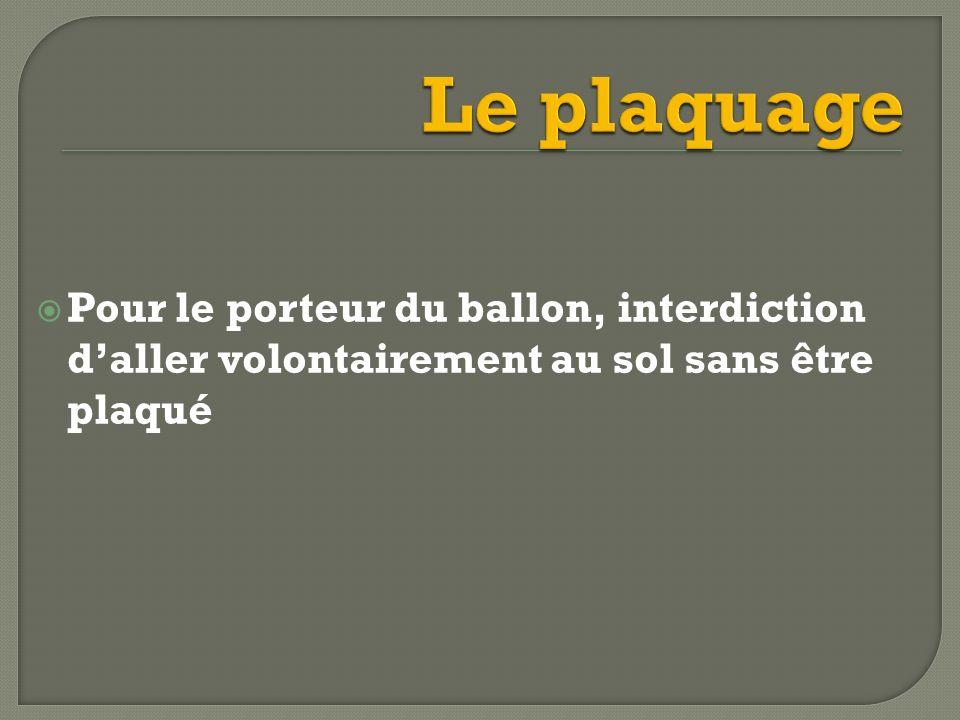 Le plaquage Pour le porteur du ballon, interdiction d'aller volontairement au sol sans être plaqué