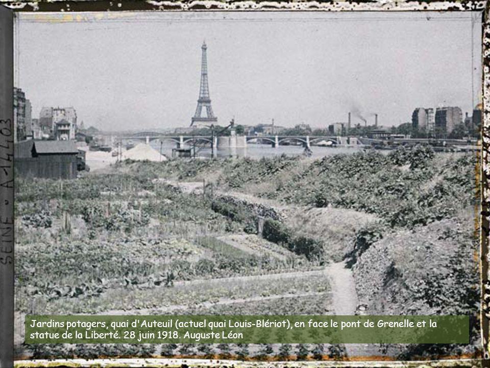 Jardins potagers, quai d Auteuil (actuel quai Louis-Blériot), en face le pont de Grenelle et la statue de la Liberté.