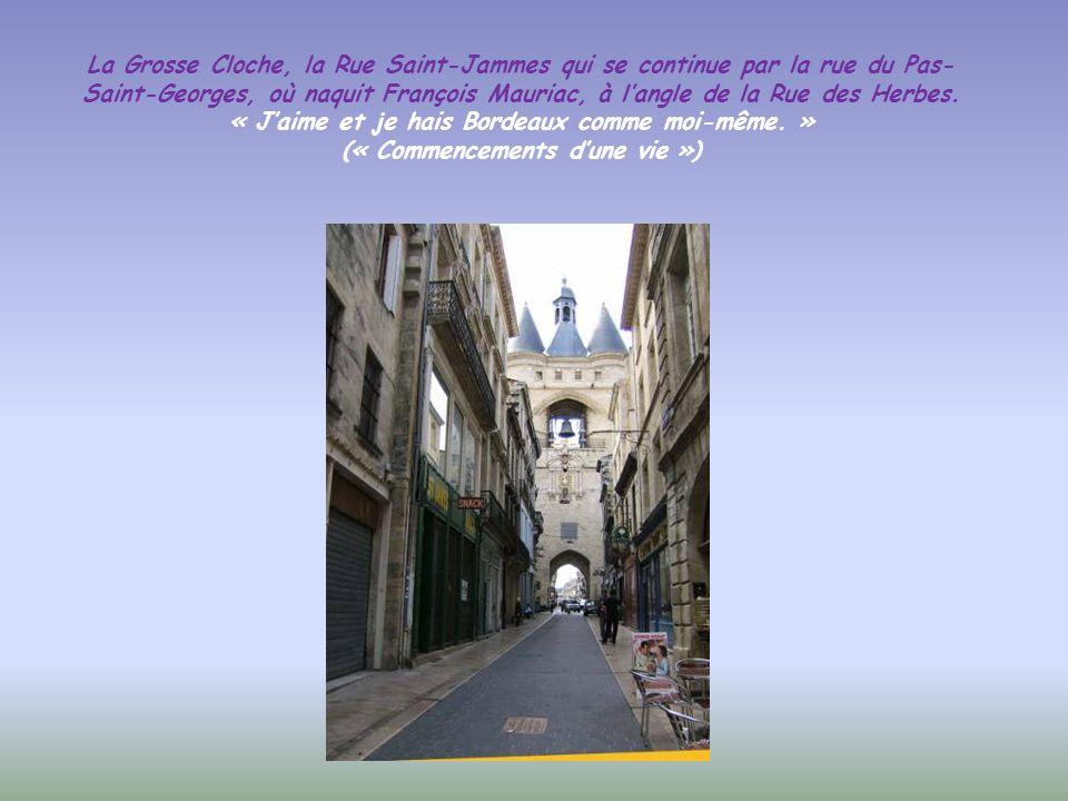 La Grosse Cloche, la Rue Saint-Jammes qui se continue par la rue du Pas-Saint-Georges, où naquit François Mauriac, à l'angle de la Rue des Herbes.