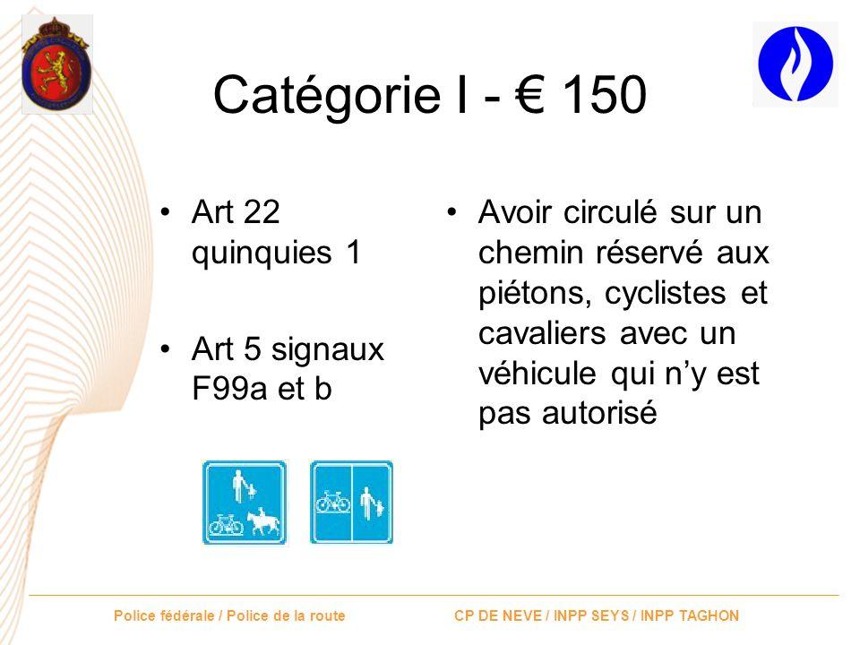Catégorie I - € 150 Art 22 quinquies 1 Art 5 signaux F99a et b