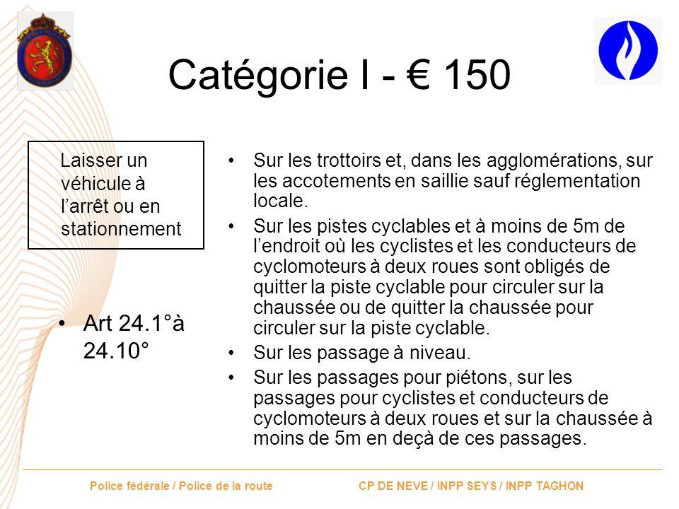 Catégorie I - € 150 Laisser un véhicule à l'arrêt ou en stationnement