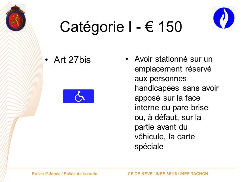 Catégorie I - € 150 Art 27bis.