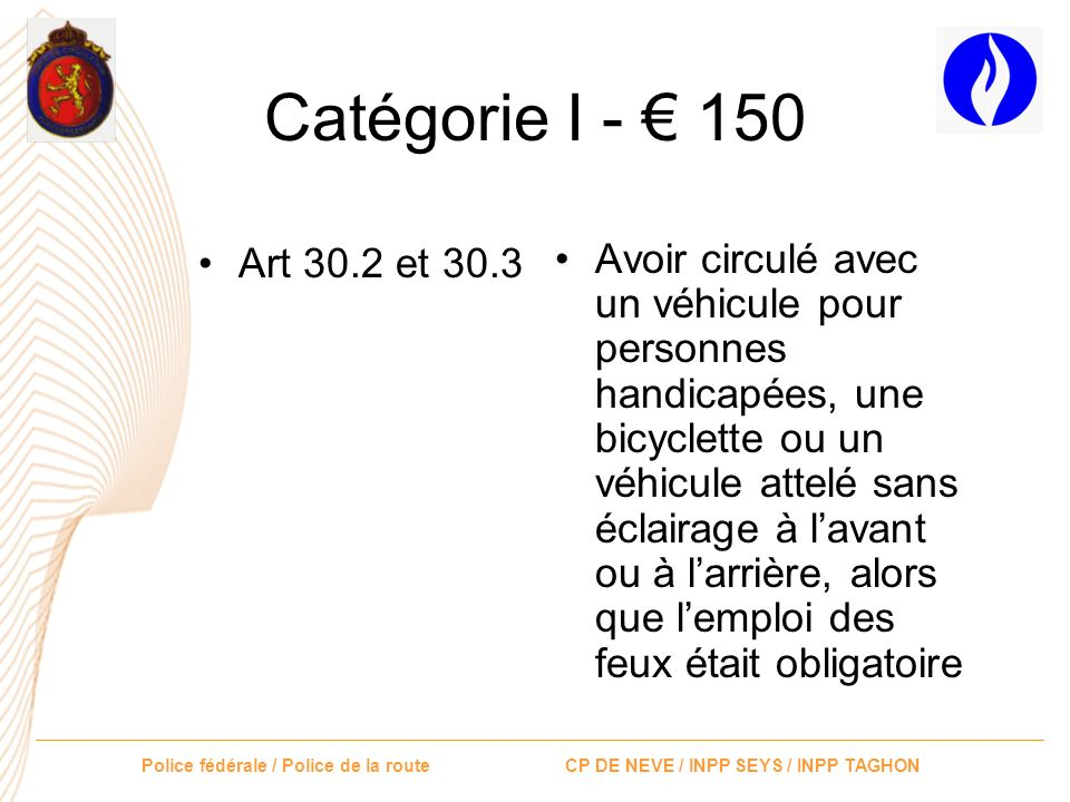 Catégorie I - € 150 Art 30.2 et 30.3.