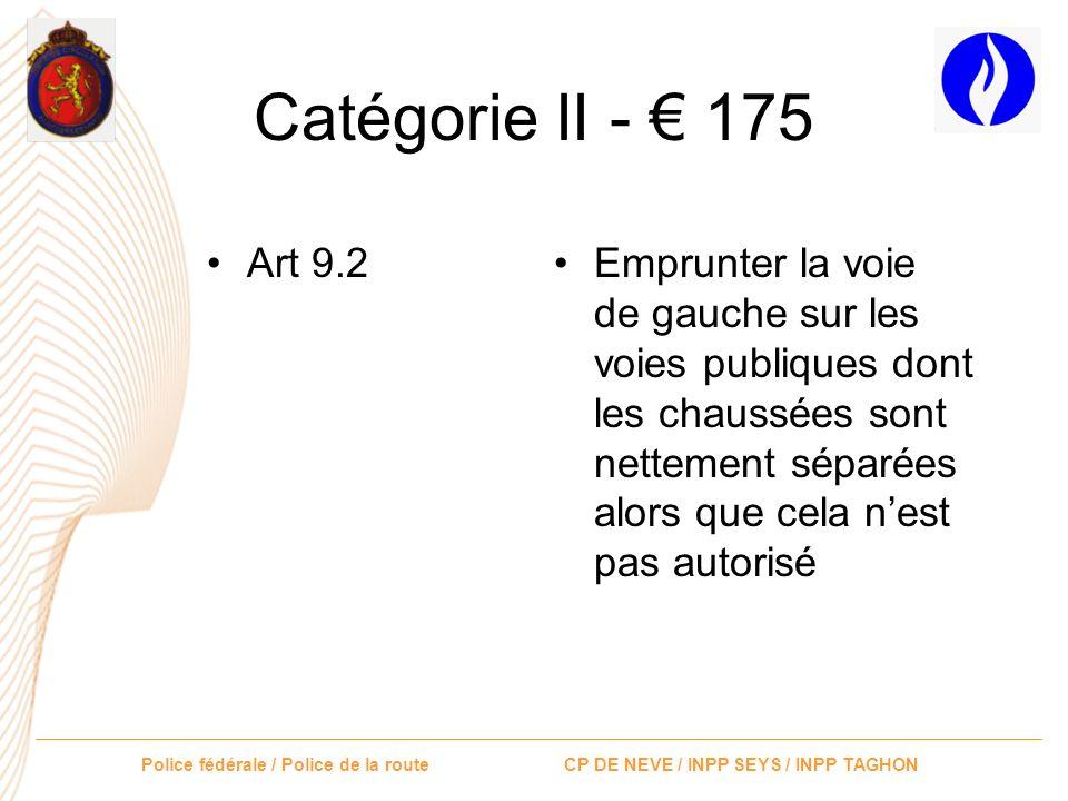 Catégorie II - € 175 Art 9.2.