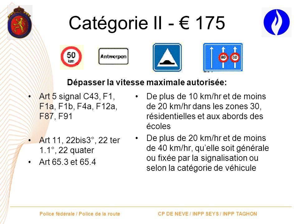 Catégorie II - € 175 Dépasser la vitesse maximale autorisée: