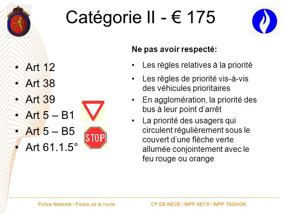Catégorie II - € 175 Art 12 Art 38 Art 39 Art 5 – B1 Art 5 – B5