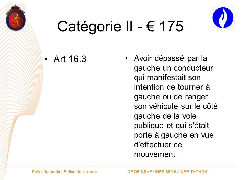 Catégorie II - € 175 Art 16.3.