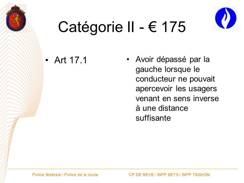 Catégorie II - € 175 Art 17.1.