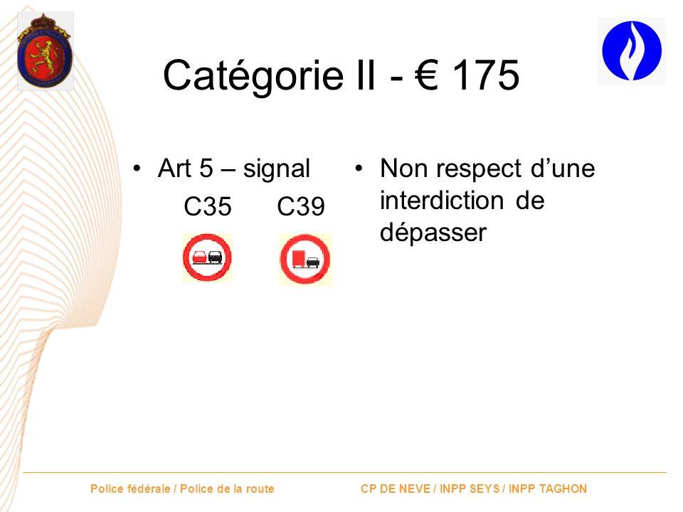 Catégorie II - € 175 Art 5 – signal C35 C39