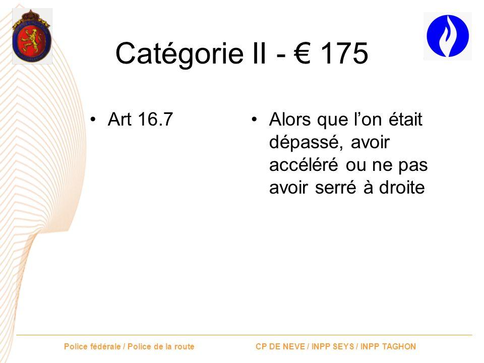 Catégorie II - € 175 Art 16.7.