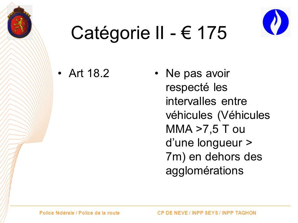 Catégorie II - € 175 Art 18.2.