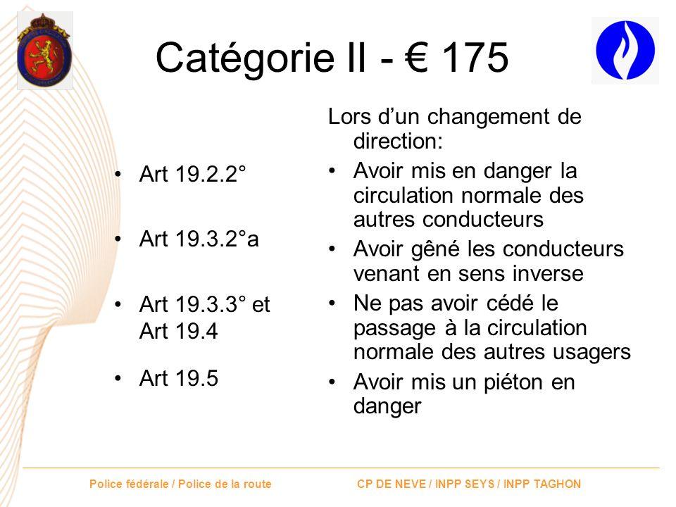 Catégorie II - € 175 Lors d'un changement de direction: Art 19.2.2°