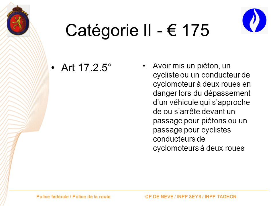 Catégorie II - € 175 Art 17.2.5°