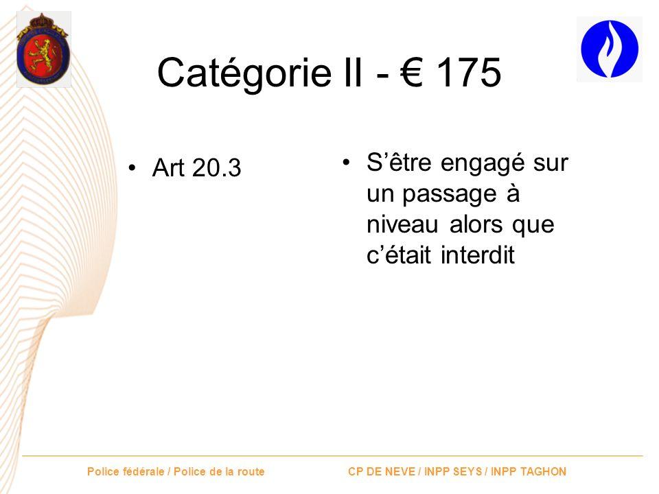Catégorie II - € 175 S'être engagé sur un passage à niveau alors que c'était interdit Art 20.3