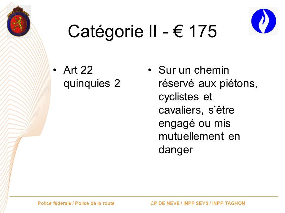 Catégorie II - € 175 Art 22 quinquies 2