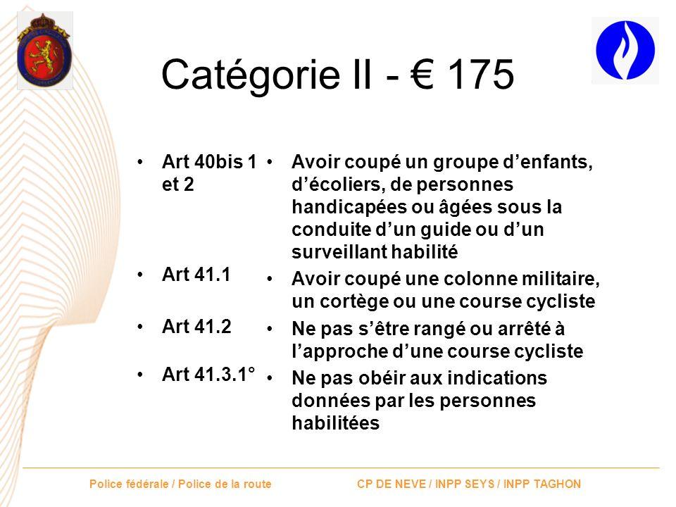 Catégorie II - € 175 Art 40bis 1 et 2 Art 41.1 Art 41.2 Art 41.3.1°