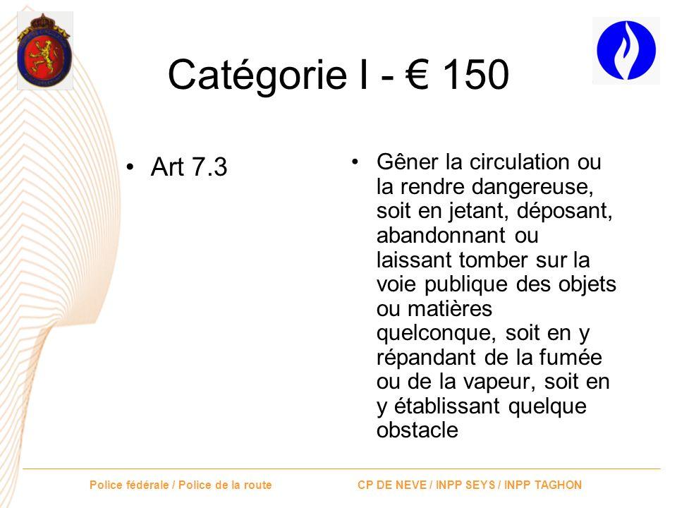 Catégorie I - € 150 Art 7.3.