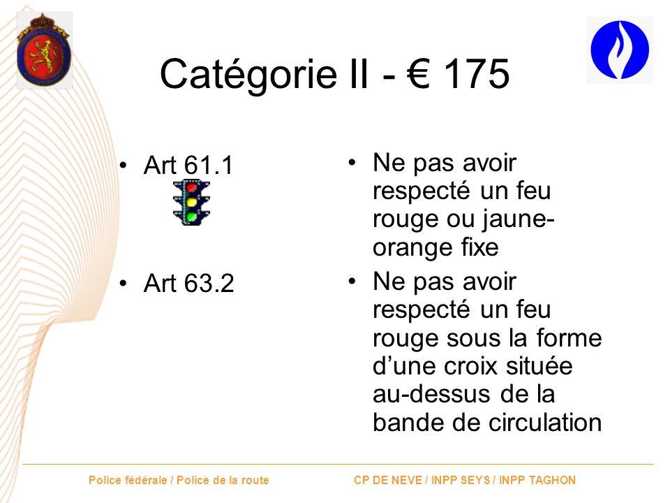 Catégorie II - € 175 Art 61.1. Art 63.2. Ne pas avoir respecté un feu rouge ou jaune-orange fixe.