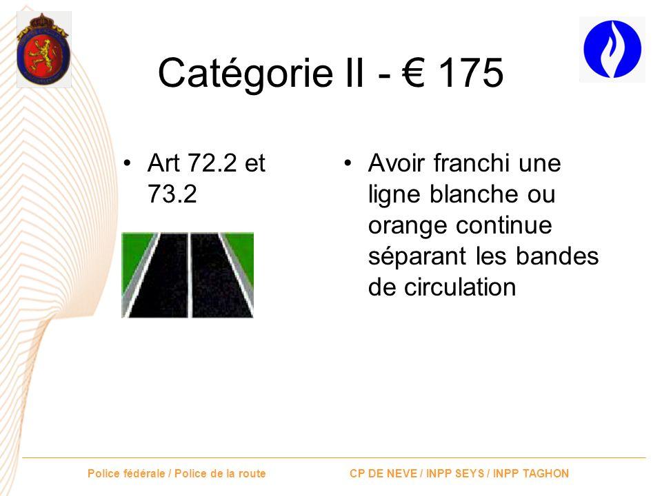 Catégorie II - € 175 Art 72.2 et 73.2.