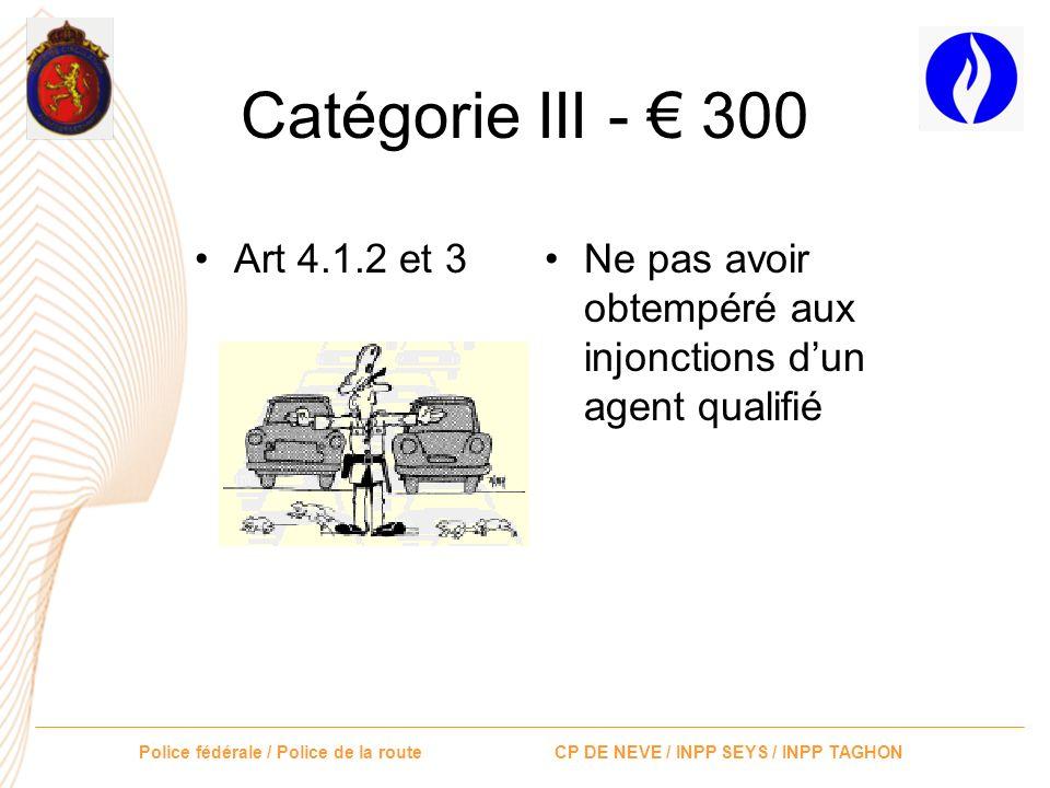 Catégorie III - € 300 Art 4.1.2 et 3 Ne pas avoir obtempéré aux injonctions d'un agent qualifié