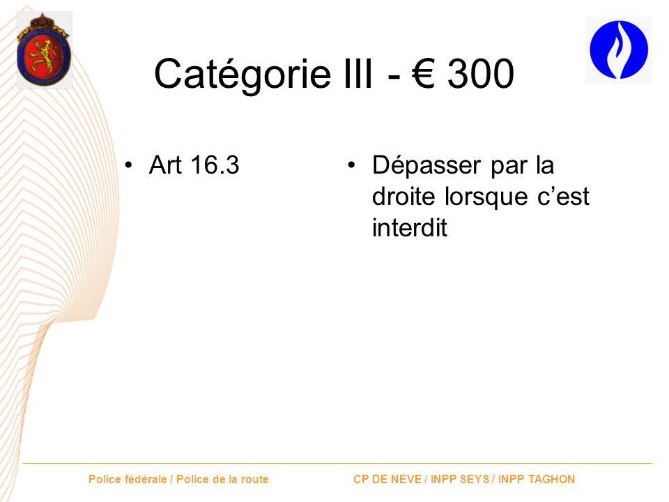 Catégorie III - € 300 Art 16.3 Dépasser par la droite lorsque c'est interdit
