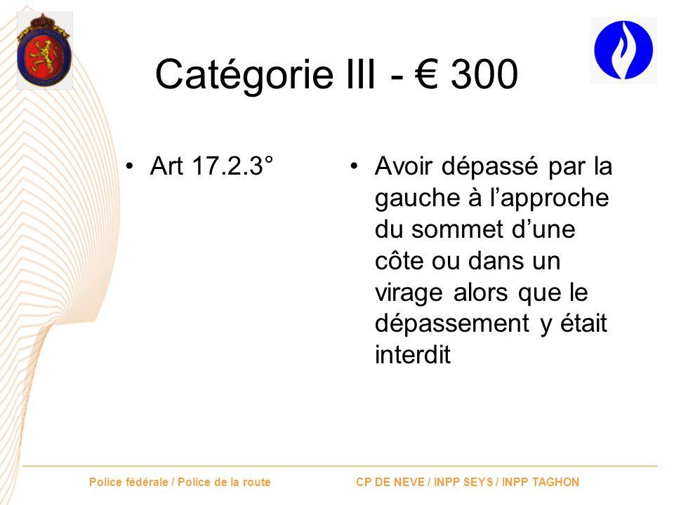 Catégorie III - € 300 Art 17.2.3°