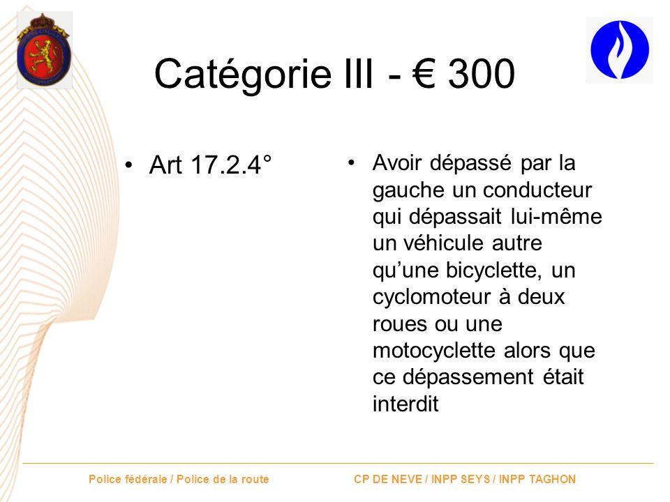 Catégorie III - € 300 Art 17.2.4°