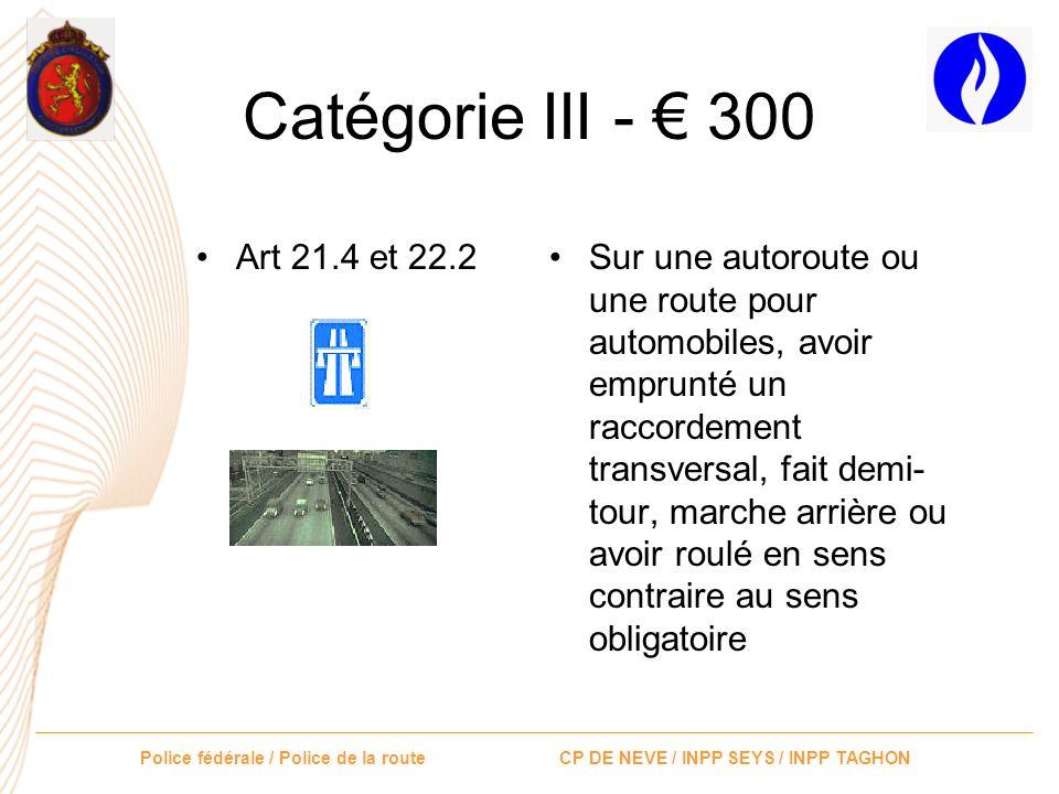 Catégorie III - € 300 Art 21.4 et 22.2.