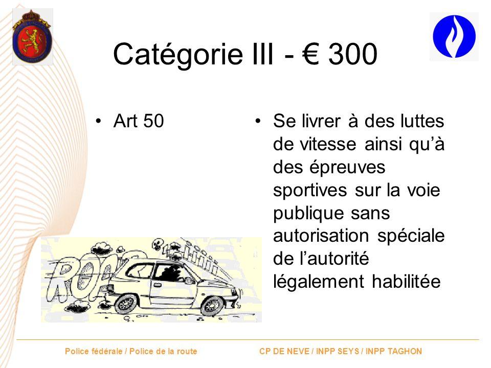 Catégorie III - € 300 Art 50.