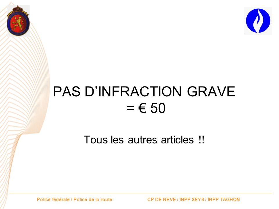 PAS D'INFRACTION GRAVE = € 50 Tous les autres articles !!