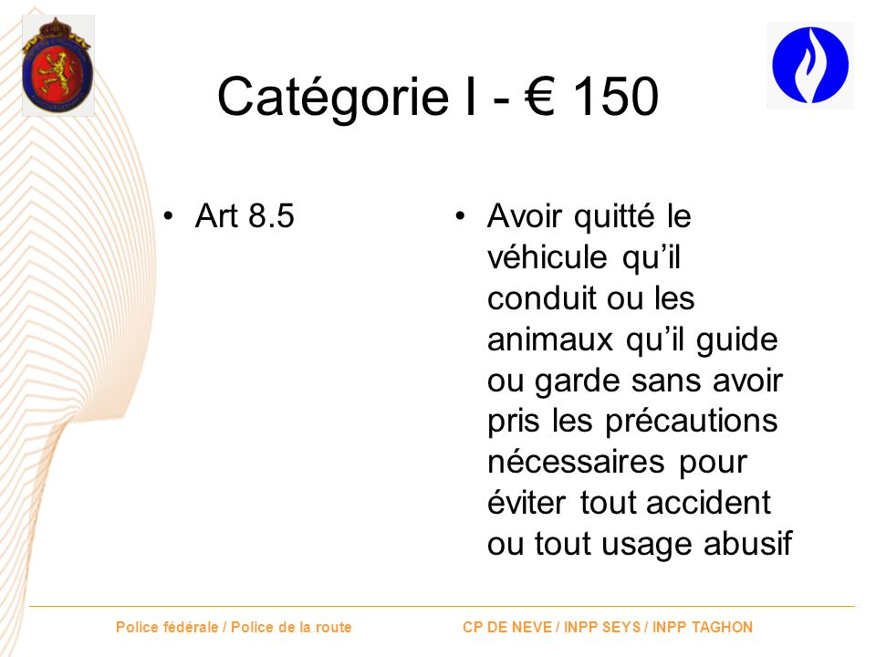 Catégorie I - € 150 Art 8.5.