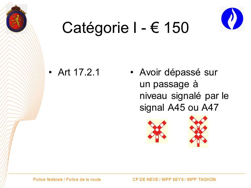 Catégorie I - € 150 Art 17.2.1.