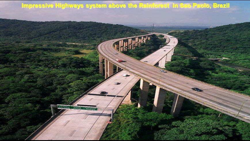 Impressive Highways system above the Rainforest in Sao Paolo, Brazil