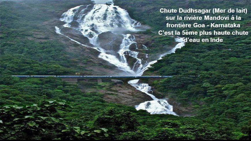 Chute Dudhsagar (Mer de lait) sur la rivière Mandovi à la frontière Goa - Karnataka C'est la 5ème plus haute chute d'eau en Inde
