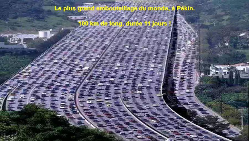 Le plus grand embouteillage du monde, à Pékin.