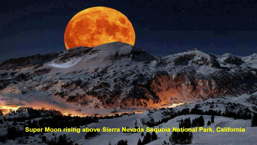 Super Moon rising above Sierra Nevada Sequoia National Park, California