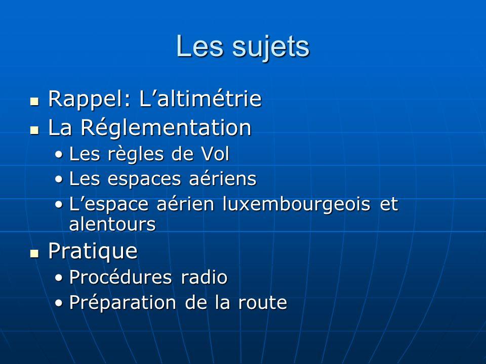 Les sujets Rappel: L'altimétrie La Réglementation Pratique