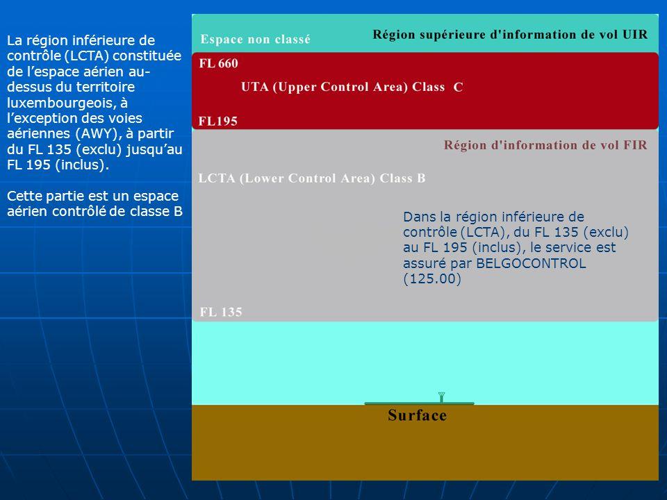 La région inférieure de contrôle (LCTA) constituée de l'espace aérien au-dessus du territoire luxembourgeois, à l'exception des voies aériennes (AWY), à partir du FL 135 (exclu) jusqu'au FL 195 (inclus).