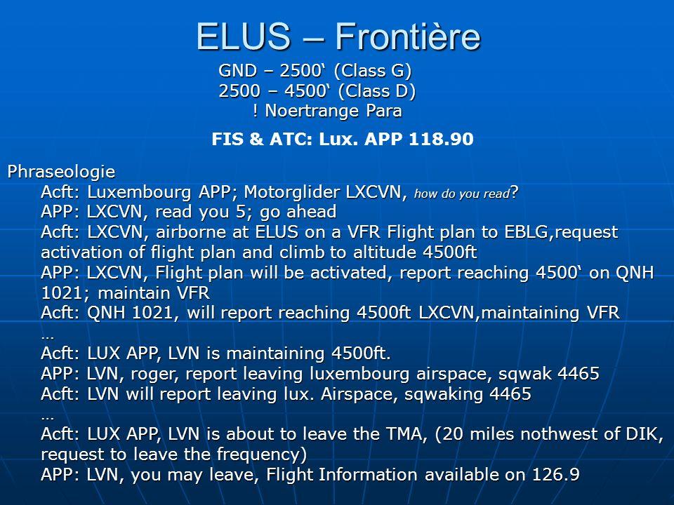 ELUS – Frontière GND – 2500' (Class G) 2500 – 4500' (Class D)