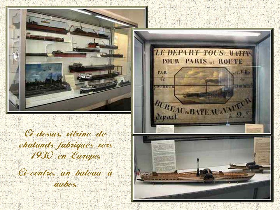 Ci-dessus, vitrine de chalands fabriqués vers 1930 en Europe.