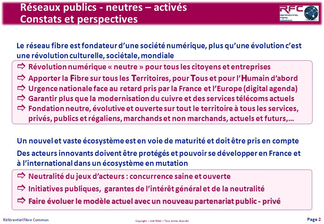 Réseaux publics - neutres – activés Constats et perspectives
