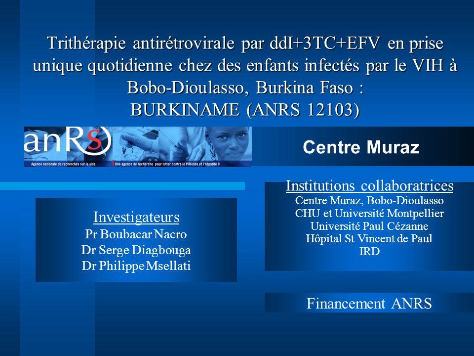 Trithérapie antirétrovirale par ddI+3TC+EFV en prise unique quotidienne chez des enfants infectés par le VIH à Bobo-Dioulasso, Burkina Faso : BURKINAME (ANRS 12103)