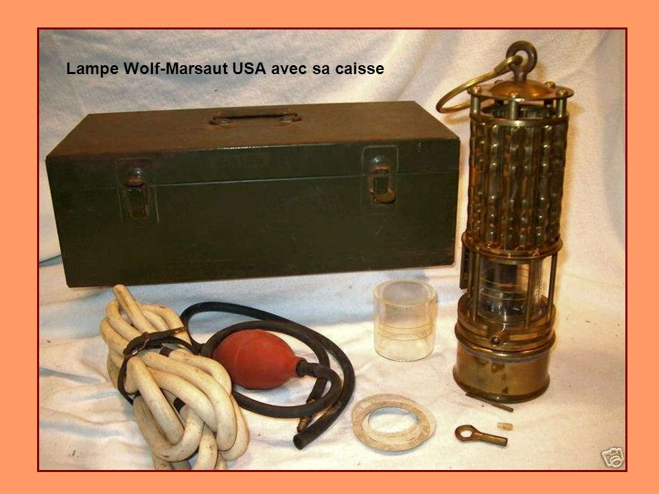 Lampe Wolf-Marsaut USA avec sa caisse