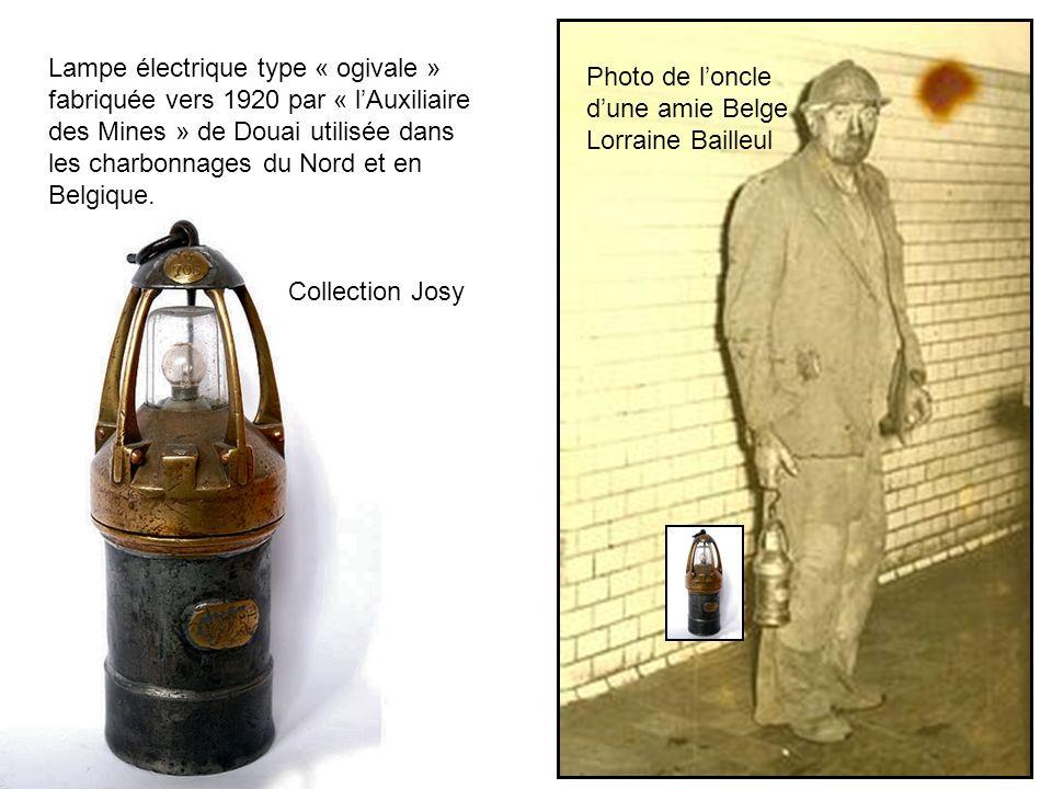 Lampe électrique type « ogivale » fabriquée vers 1920 par « l'Auxiliaire des Mines » de Douai utilisée dans les charbonnages du Nord et en Belgique.