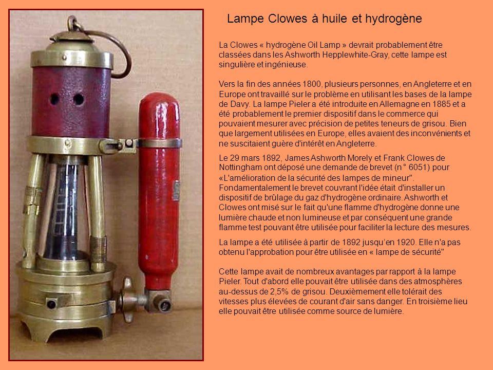 Lampe Clowes à huile et hydrogène