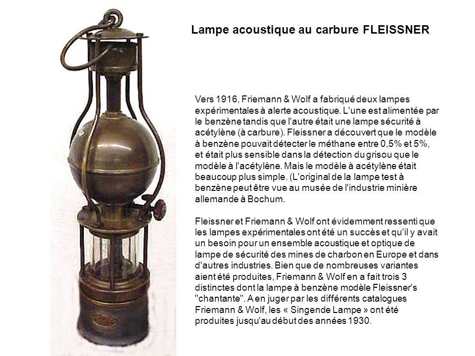 Lampe acoustique au carbure FLEISSNER