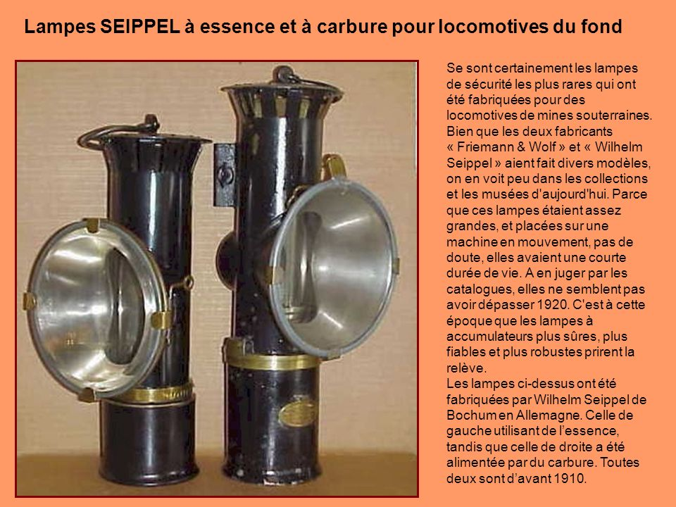 Lampes SEIPPEL à essence et à carbure pour locomotives du fond